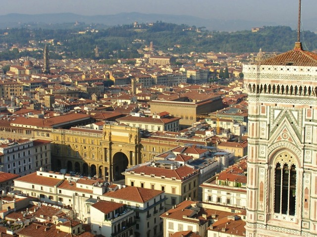 View of the historic centre from the top of the Duomo.