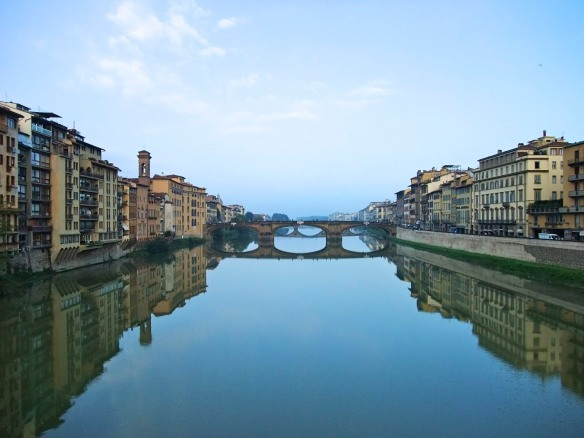 The Arno River viewed from Ponte Vecchio