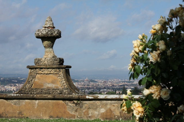 When you round the corner past the villa, on your right is one of the most wide open views of Florence imaginable.  Even from this distance the Duomo is clearly visible.