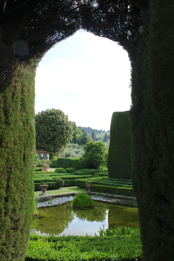 Through the arches wonderful vistas out onto the countryside and looking back toward the villa.