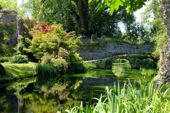 Ninfa.  An English garden in the ruins of a medieval village.