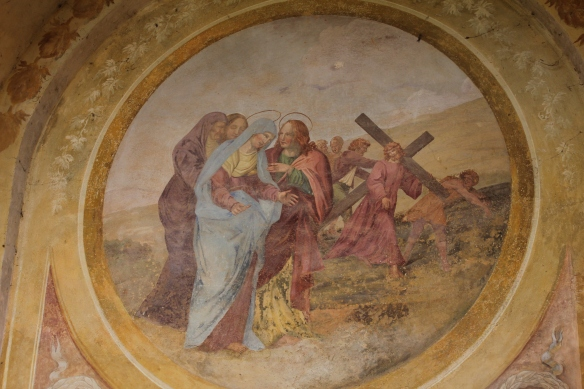 "Votive chapels represent the ""Seven Sorrows of the Virgin""."