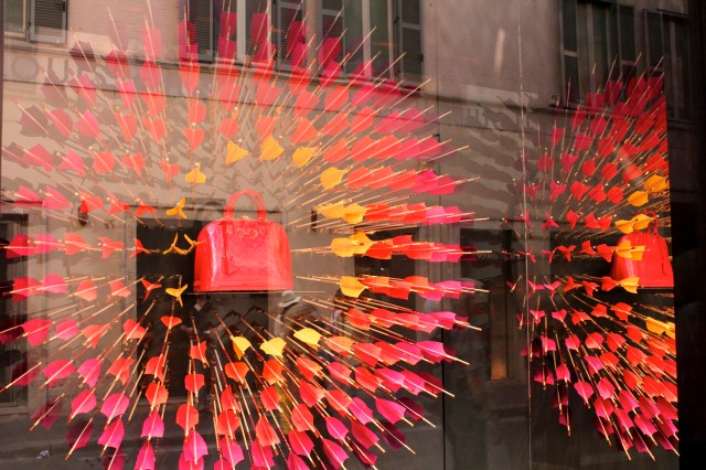 A window display in one of the many upscale stores in Via Condotti.
