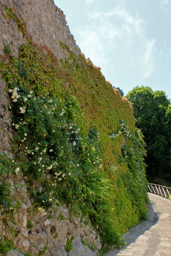 The approach to Villa Cimbrone is along a narrow path on the edge of the village.