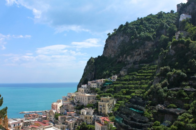 Partway up a view of Amalfi