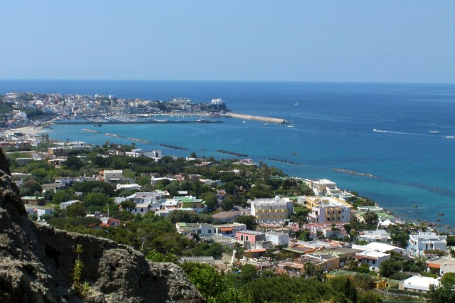 The town of Forio on the west coast of Ischia Island as viewed from La Mortella Gardens.