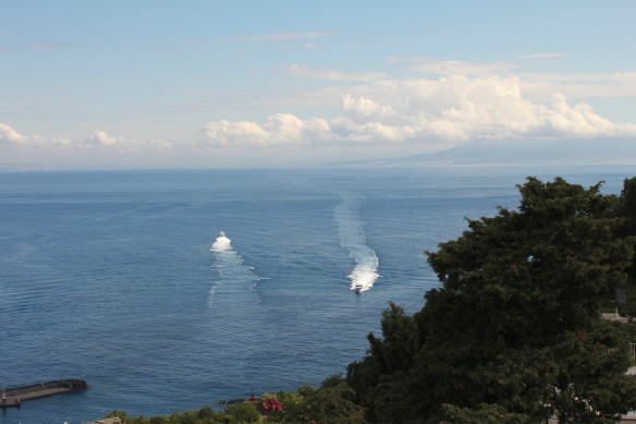 Ferries arriving and departing from Capri.
