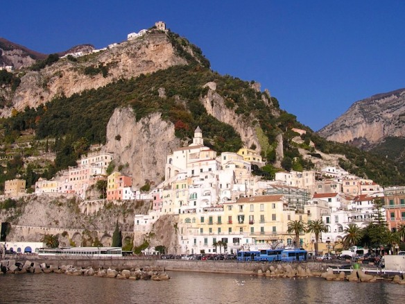 On a rare bit of flat land at the base of Amalfi village, the terminal for the blue buses that