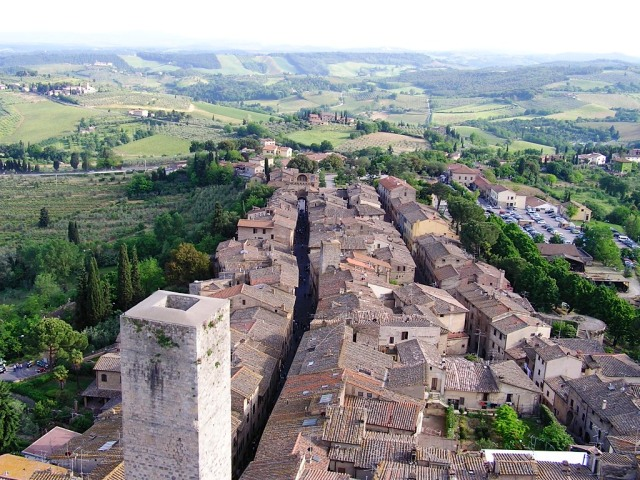 If you can manage it, climb up to the top of Torre Grossa (Fat Tower) for this view.