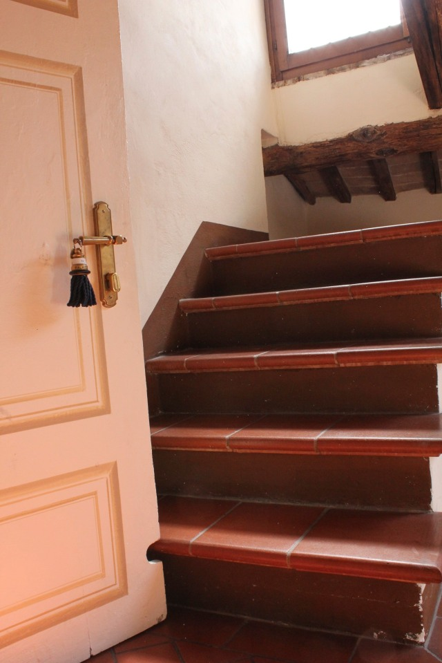 Who knows where the stairs once led to.  Love that notch in the door.