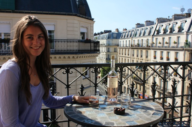 Evening apéritif  on our little terrace near Notre Dame.  An instant tradition.