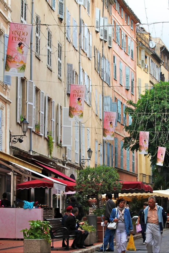 Banners celebrate the 2014 edition of the annual Festival des Roses in Grasse.