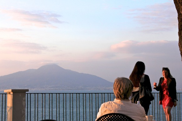 ...but the views are amazing.  Especially at sunset.  Few can resist taking 'selfies' with Vesuvius in the background.