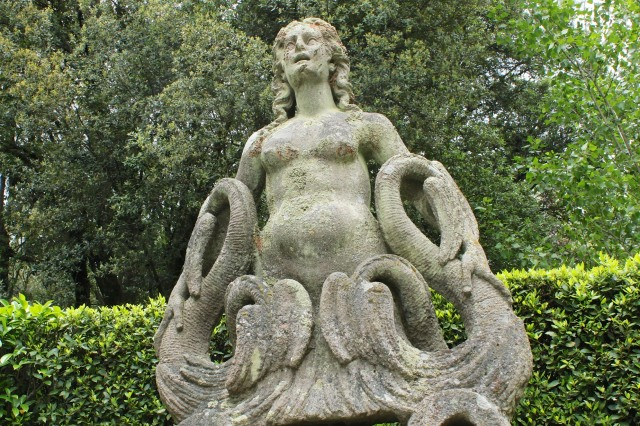 The siren in the gardens of Villa Torrigiani, near Lucca (also 16th century) seems somehow more modern.