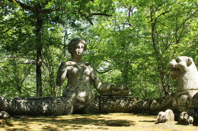 The siren in the 16th century garden of Sacro Bosco, Lazio