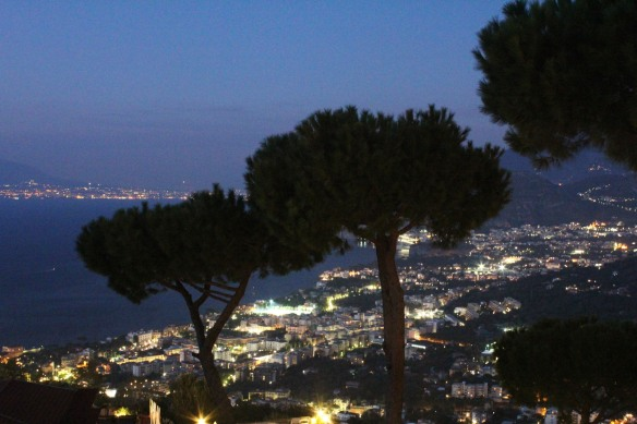 Dusk falls early in Sorrento in the fall, putting the kibosh on my plans to walk down the (unlit) path to the city for dinner.  cancelled when