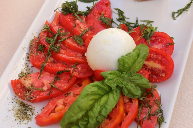 Insalata caprese served at in the village of Amalfi