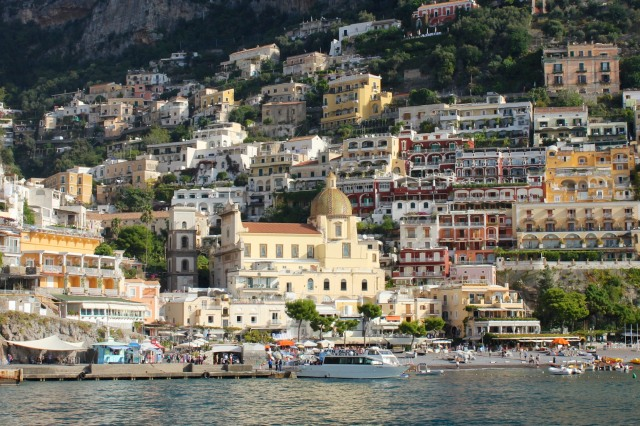 Positano's most luxurious is called the Sirenuse.  It's the dark red building to the right of the church dome.