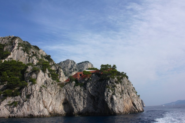 Augustus and Tiberius may have taken up the island's prime locations, but with all those craggy outcrops, villa builders in more modern times have still managed to find perfectly acceptable sites for their refuges.  The villa of nick-named Il Ferro (The Iron) by locals not enamoured of the style.