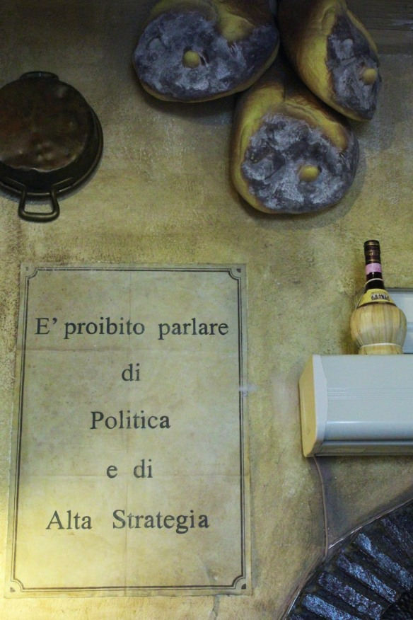 When I went to pay, I I was glad I hadn't talked to the waiter about politics and high strategy.  Both proibito.