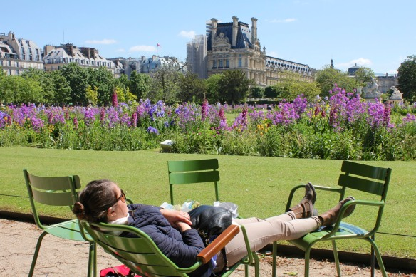 Post-picnic nap in the Jardin des Tuileries, Paris.