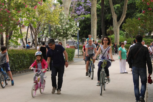 It was wonderful.  Entire families had come out with their bicycles.