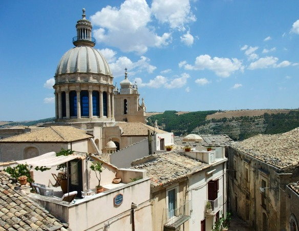 View from behind the Duomo of old Ragusa and the Iblea Mountains beyond.